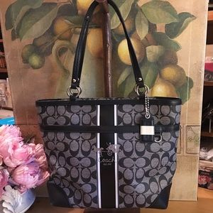 Coach Heritage Stripe Signature Tote Bag Purse